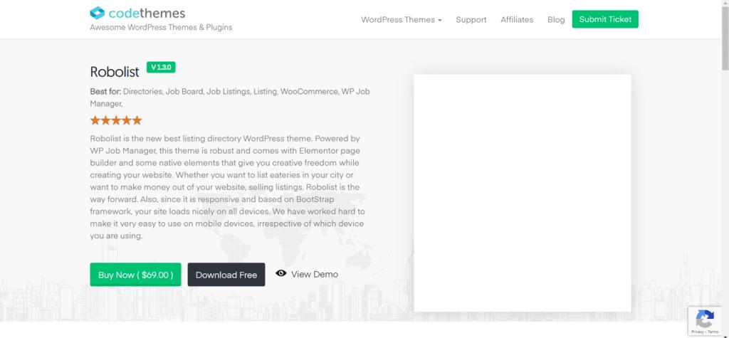 Best free directory themes for WordPress - Robolist lite