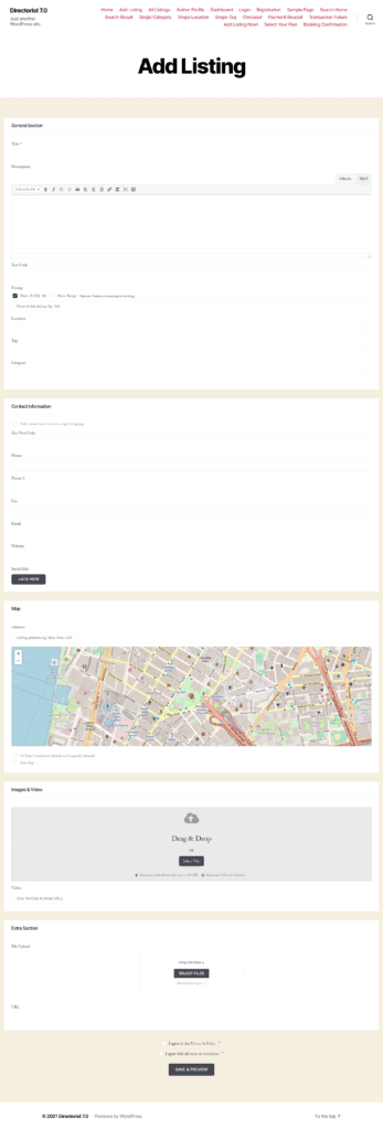add listing submission form from frontend view
