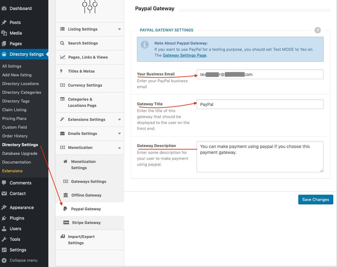 Configuring PayPal Gateway