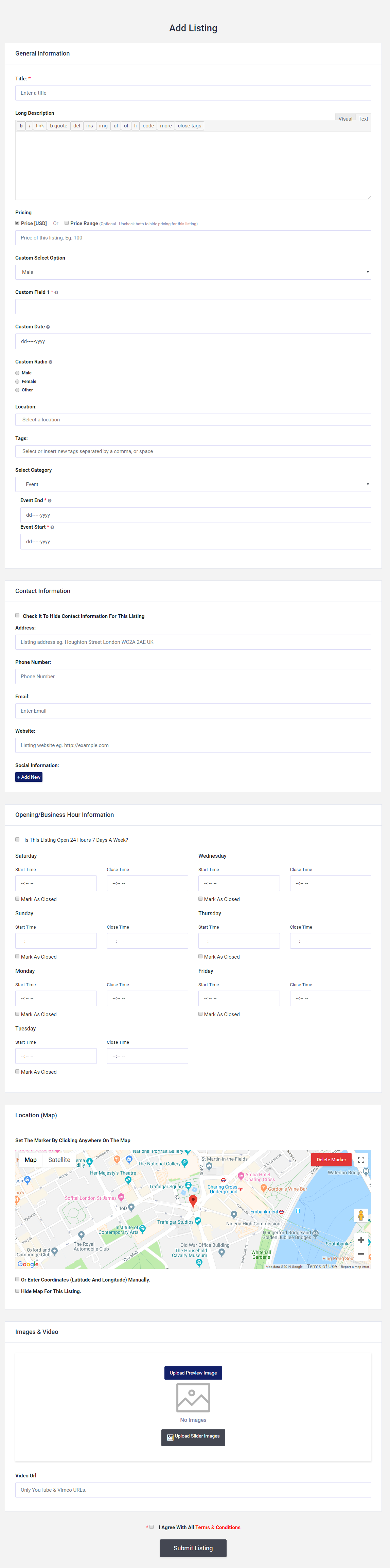 add listing - front end