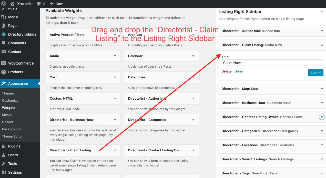 Adding Claim Listing Widget