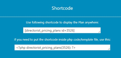 Shortcode for displaying a single plan