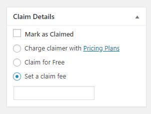 Setting a claim fee