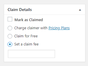 Charging a claimer for a specific listing