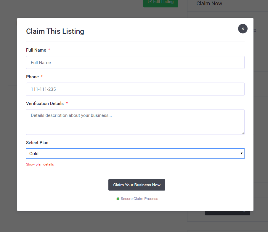 Claim Form (with Pricing Plans)