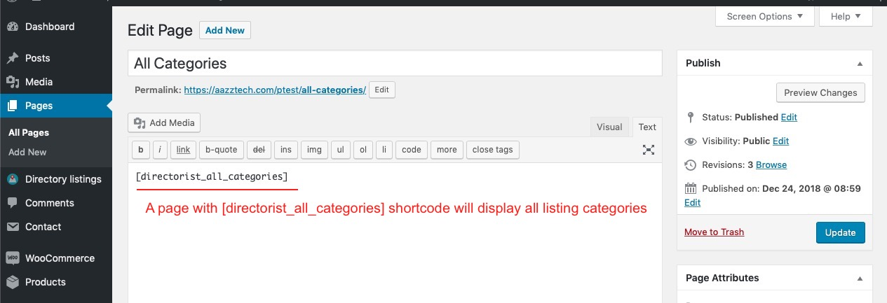 Example of using directorist_all_categories shortcode