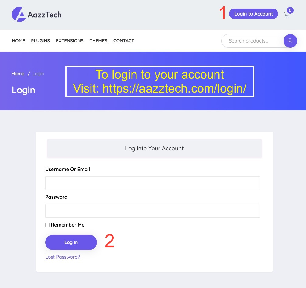 Logging in to your account on aazztech