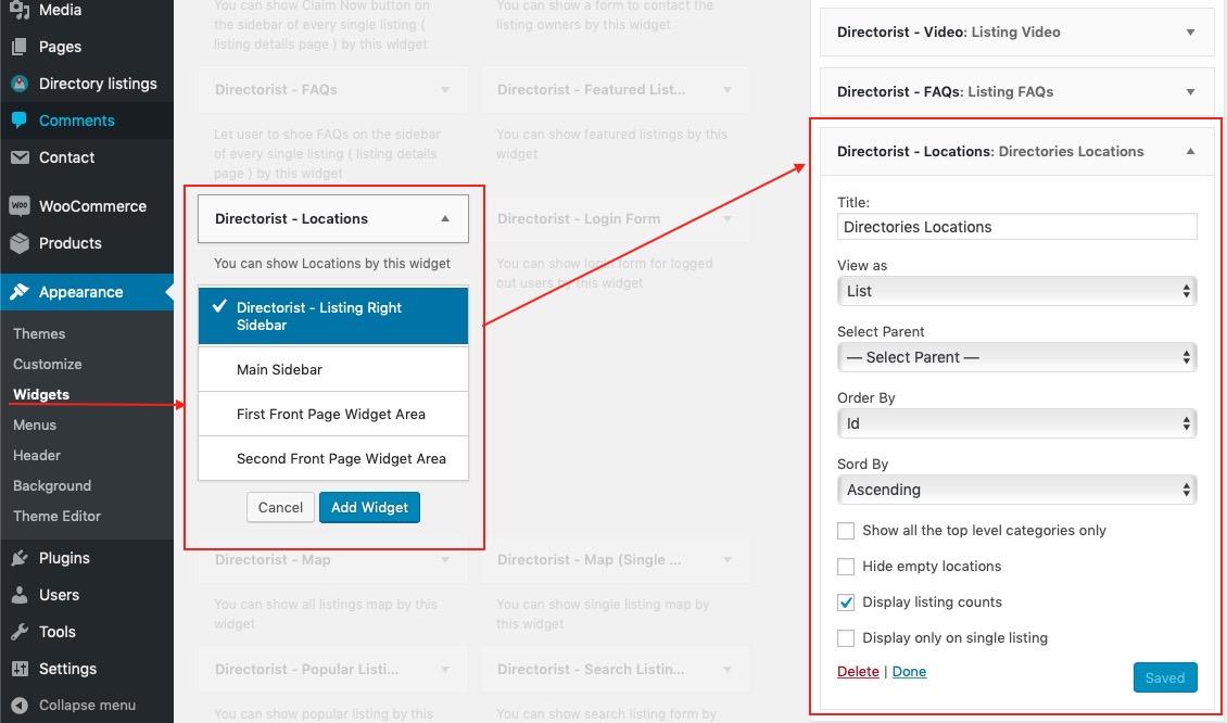 Using directorist locations widget