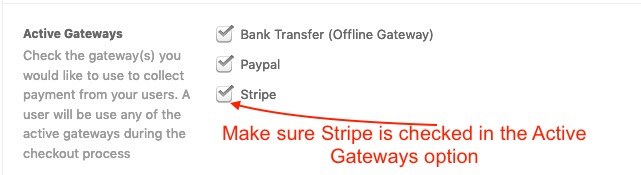 Adding Stripe in the active gateways list