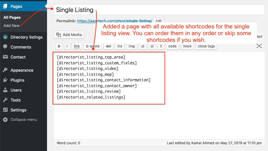 Creating a page for single listing view with available shortcodes
